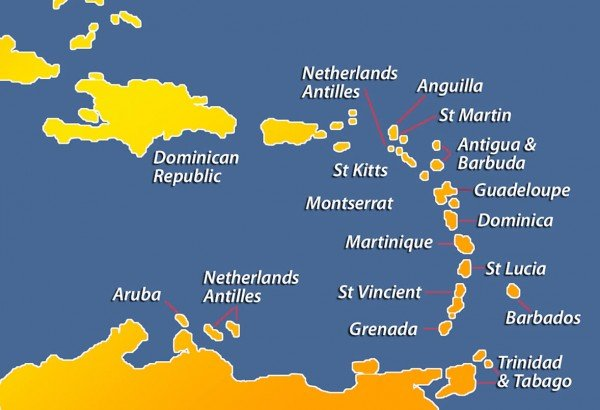 Caribbean windward and leeward islands The windward