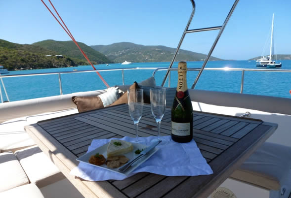 Champagne on the Flybridge