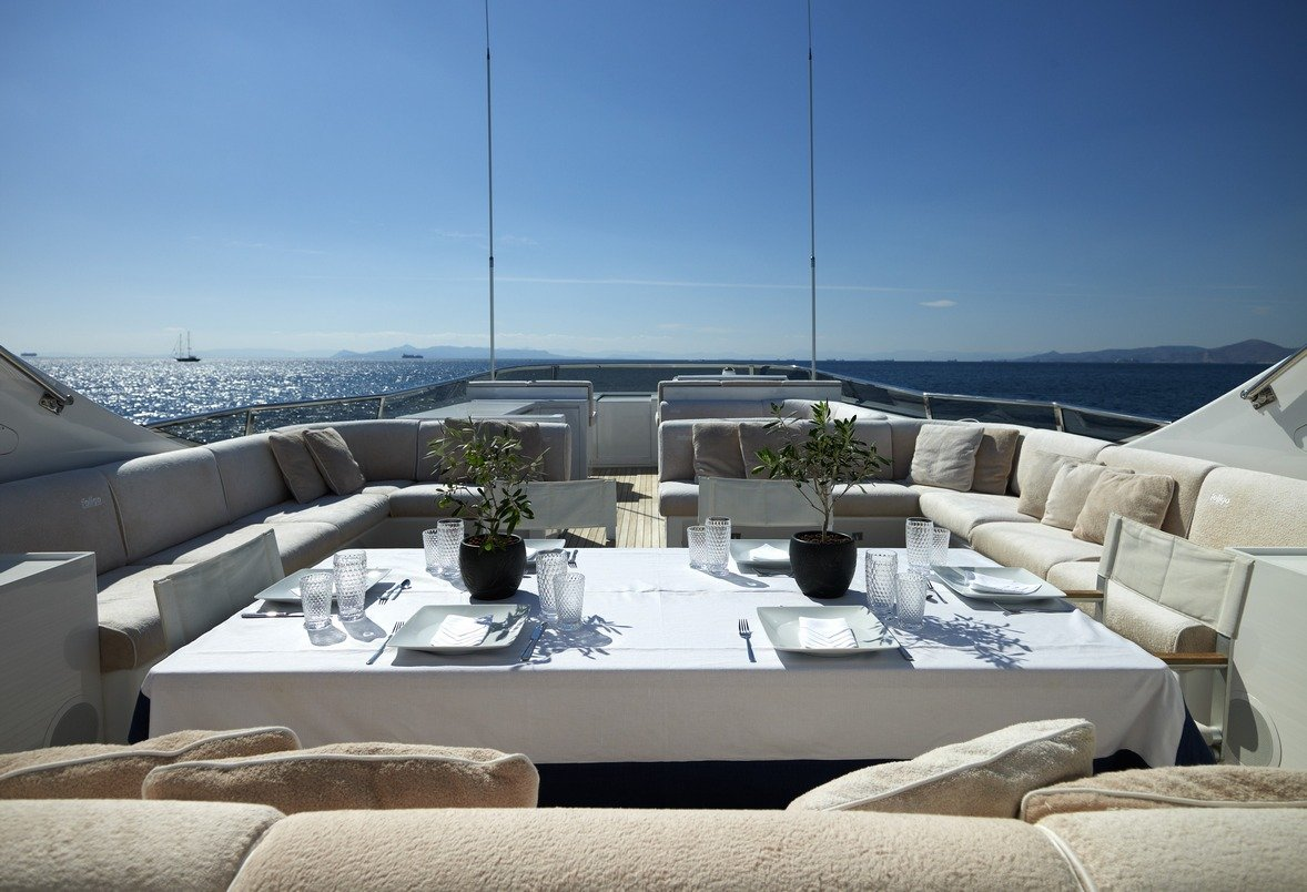 Luxury Charter Motor Yacht FELIGO V Sundeck Alfresco Dining and Relaxation Area