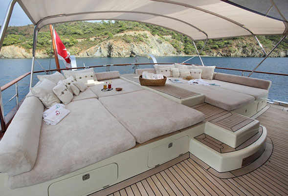 Daima aft deck lounging cushions