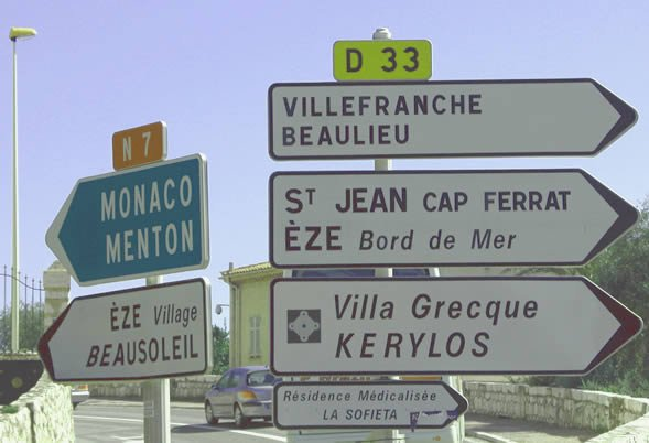 French Riviera Signpost