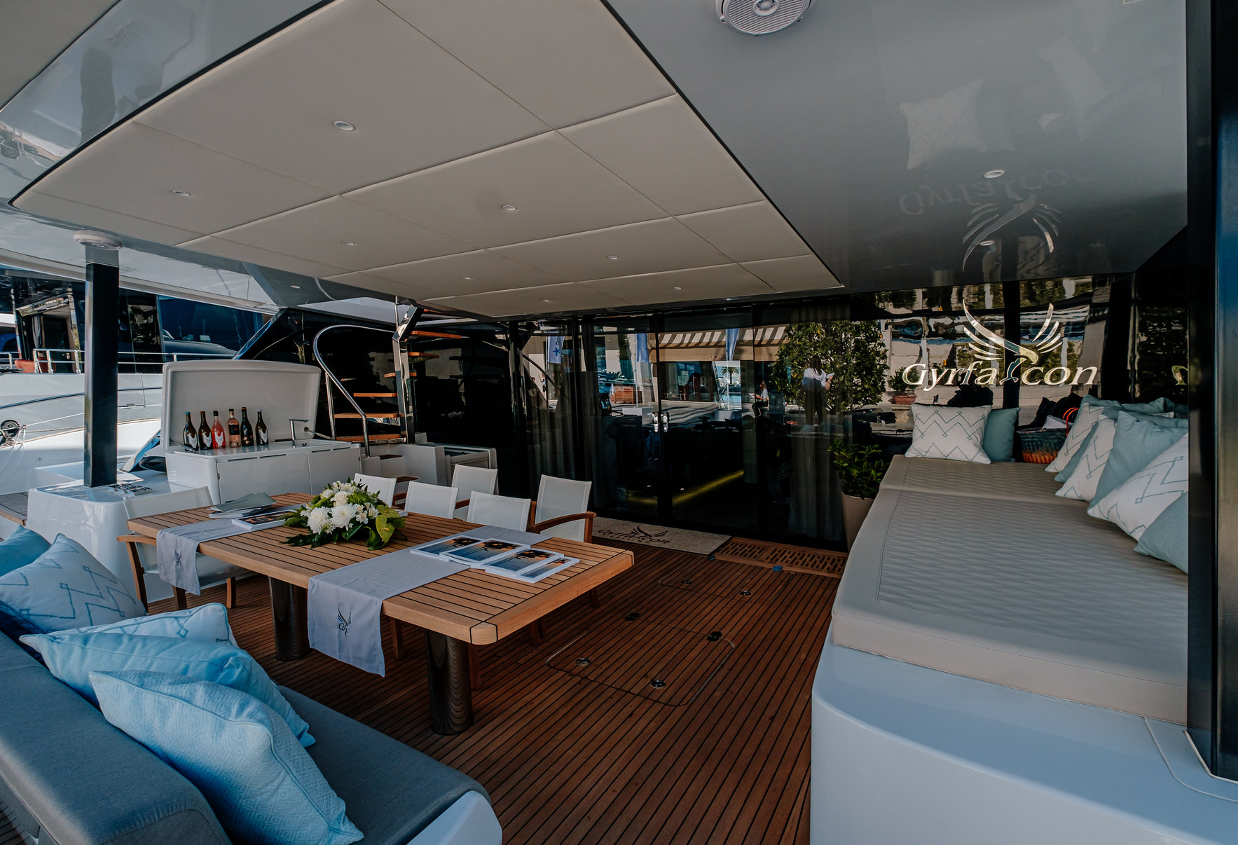 GYRAFALCON Aft Deck Seating & Dining Area