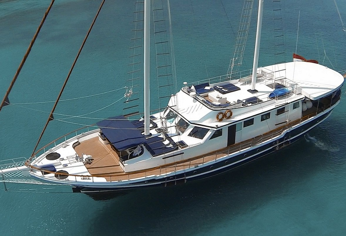 Luxury Charter Motor Sailer AURUM Aerial View