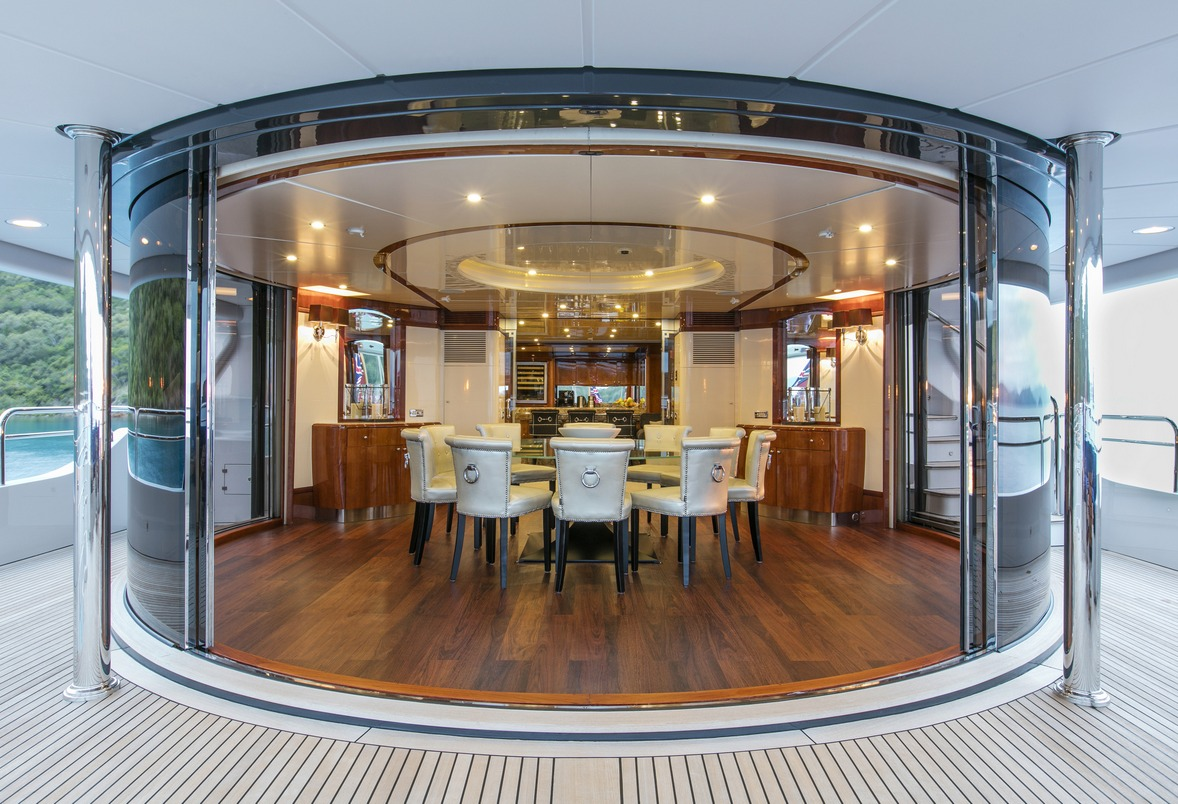 Luxury Charter Yacht SOVEREIGN Sky Lounge Dining