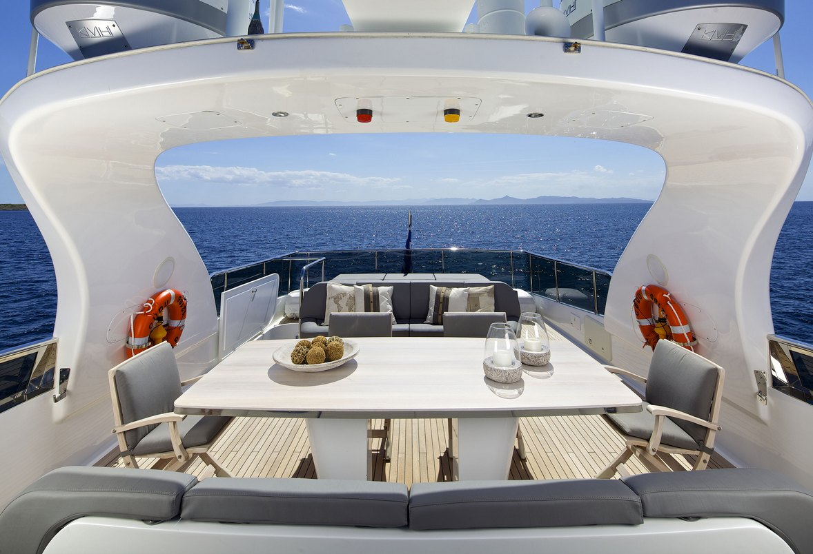 Luxury Charter Motor Yacht CUDU Alfresco Dining Flybridge
