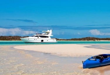 Bahamas Beach with Yacht & Kayak