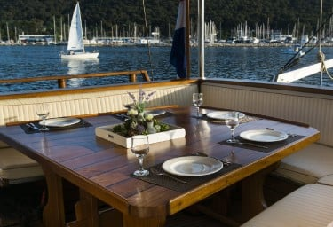 Charter Gulet ABORDA Aft Dining Table