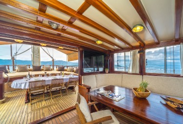 Charter Gulet ANGELICA Saloon Looking Aft