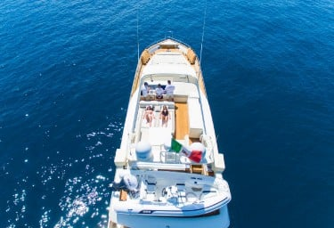 Charter Yacht RIVIERA Aft Aerial View