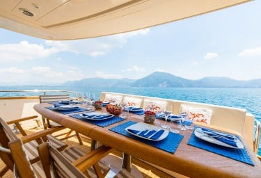 Charter Yacht RIVIERA Aft Deck Dining