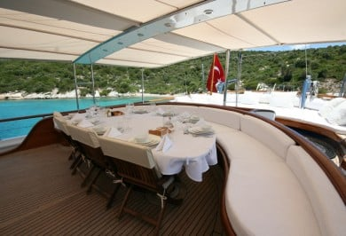 Luxury Charter Gulet CANER IV Aft Deck Dining Setting
