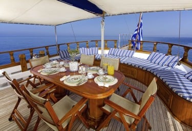 Charter Motor Sailer HERMINA Aft Deck and Seating
