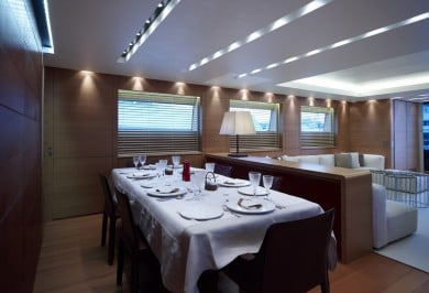 Charter Motor Yacht FELIGO V Salon Formal Dining Area