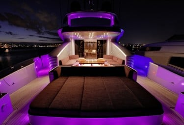 Luxury Charter Yacht MY TOY Aft Deck Night Lights