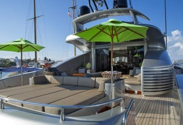 Luxury Charter Yacht MY TOY Aft Deck Sunbeds