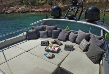 Luxury Charter Motor Yacht MY TOY Flybridge Sunbathing