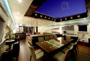 Luxury Charter Motor Yacht MY TOY Open Roof Dining