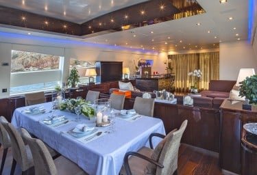 Luxury Charter Motor Yacht MY TOY Saloon and Dining