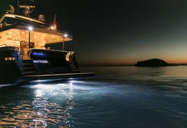 Charter Motor Yacht MYTHOS Night Lights Stern
