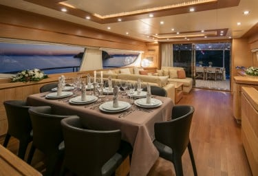 Charter Motor Yacht MYTHOS Saloon Formal Dining