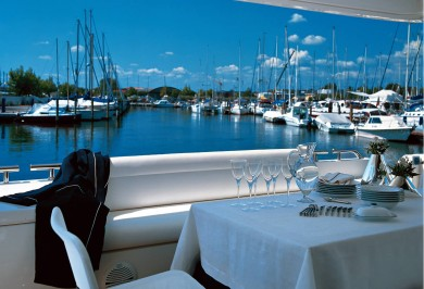 Charter Yacht MELI Aft Deck Dining