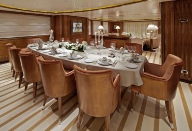 Charter Yacht MIA RAMA Formal Dining Area Interior