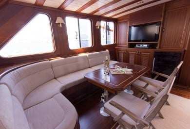 Charter Gulet ATALANTE Saloon with Interior Dining Area