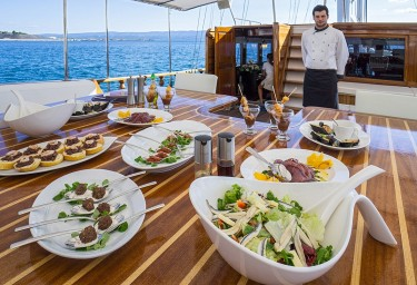 Gulet STELLA MARIS Canapes on the Aft Deck