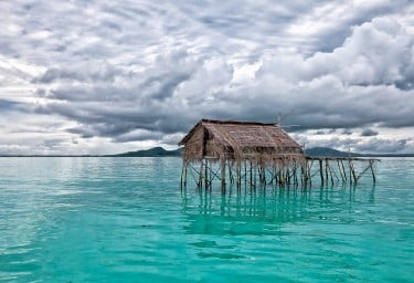 SE Asia Indonesian stilt house