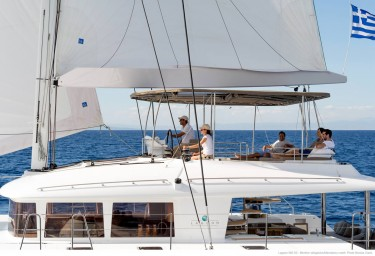 Lagoon Sailing Catamaran MOYA Flybridge Underway