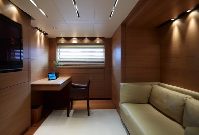 Luxury Charter Motor Boat FELIGO Office and Convertible Guest Cabin