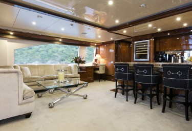 Luxury Charter Motor Yacht SOVEREIGN Sky Lounge Bar and Seating