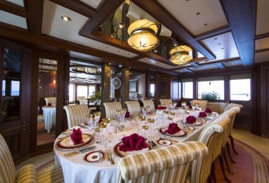 Luxury Charter Mega Yacht MOSAIQUE Interior Formal Dining Room