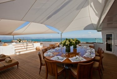 Luxury Expedition Yacht SURI Shaded Sun Deck