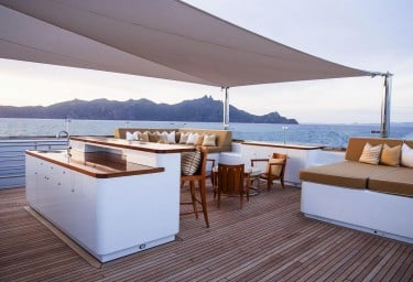 Luxury Expedition Yacht SURI Sun Deck with Bar