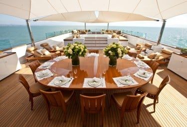 Luxury Expedition Yacht SURI Sun Deck Alfresco Dining