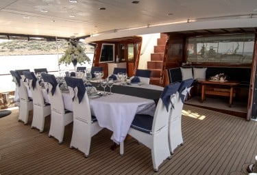 Luxury Motor Sailer AURUM Aft Dining Area