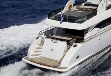 Luxury Motor Yacht CUDU Stern View Underway