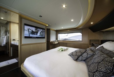Luxury Motor Yacht LE PETIT BATEAU Master Cabin View Aft