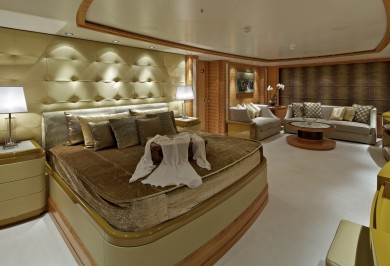 Luxury Charter Yacht MIA RAMA Master Stateroom w/ Private Lounge