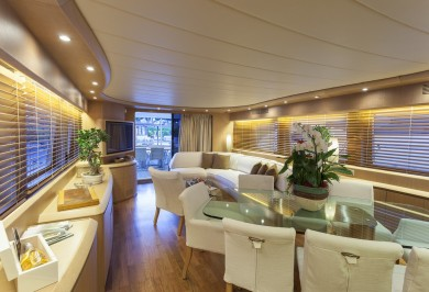 Luxury Motor Yacht SANDS New Saloon Looking Aft