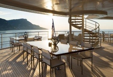 SERENITY Aft Deck Dining Area