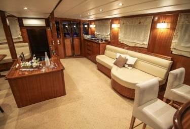Motor Sailer AURUM Main Saloon Facing Aft