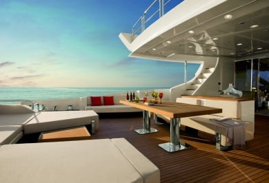 Luxury Charter Yacht DUKE Aft Deck with Seating and Table