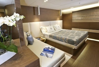 Luxury Yacht OURANOS VIP Stateroom with Private Lounge Area