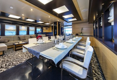 Luxury Charter Yacht NAVILUX Saloon and Interior Dining