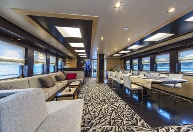 Luxury Charter Yacht NAVILUX Interior Saloon Looking Aft