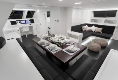 Sailing Catamaran LEVANTE Interior Dining Area