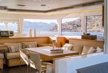 Sailing Charter Catamaran MOYA Interior Dining Space