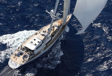 Sailing Yacht HYPERION Aerial View Stern to Bow